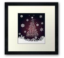 Winter holiday card with abstract Christmas tree and decorative snowflakes 2 Framed Print