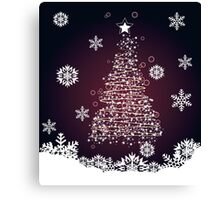 Winter holiday card with abstract Christmas tree and decorative snowflakes 2 Canvas Print