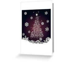 Winter holiday card with abstract Christmas tree and decorative snowflakes 2 Greeting Card