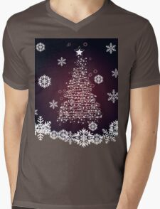 Winter holiday card with abstract Christmas tree and decorative snowflakes 2 Mens V-Neck T-Shirt