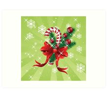 Holiday background with candy cane and bow Art Print