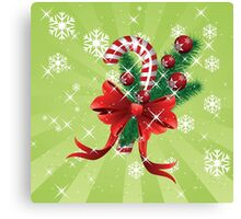 Holiday background with candy cane and bow Canvas Print
