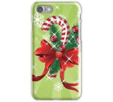 Holiday background with candy cane and bow iPhone Case/Skin