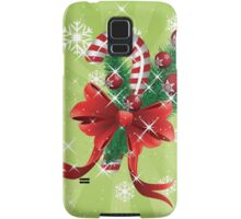 Holiday background with candy cane and bow Samsung Galaxy Case/Skin