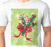 Holiday background with candy cane and bow Unisex T-Shirt