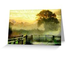 An English Country Scene in the Mist - all products Greeting Card
