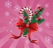 Holiday background with candy cane and bow 2 by AnnArtshock