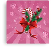 Holiday background with candy cane and bow 2 Canvas Print