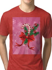 Holiday background with candy cane and bow 2 Tri-blend T-Shirt