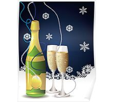 Card with champagne Poster