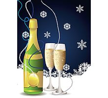 Card with champagne Photographic Print
