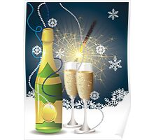 Card with champagne 2 Poster