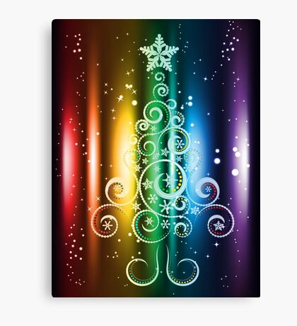 Greeting card design with abstract Christmas tree Canvas Print