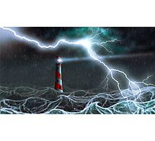 Lighthouse in the storm Photographic Print