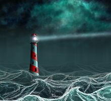 Lighthouse in the storm 2 by AnnArtshock