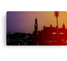 Rainbow City Silhouette Canvas Print