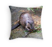 Beaver at Work Throw Pillow