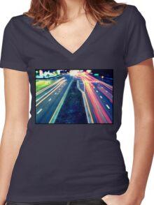 Long Exposure Street Scene. Women's Fitted V-Neck T-Shirt
