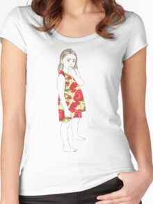 Little girl in a dress Women's Fitted Scoop T-Shirt