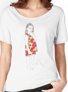 Little girl in a dress Women's Relaxed Fit T-Shirt