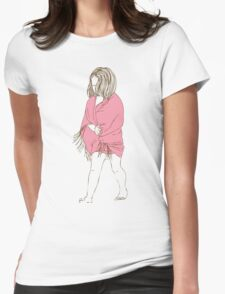 Little girl in a pink dress Womens Fitted T-Shirt