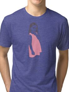 Little girl in a pink dress Tri-blend T-Shirt