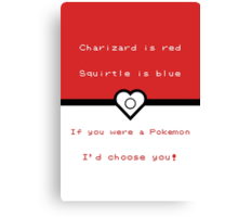 Pokemon inspired valentine. Canvas Print