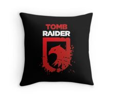 Tomb Raider Eagle (white text) Throw Pillow