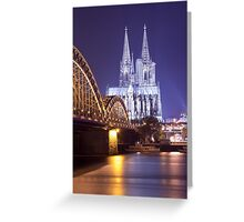 Hohenzollern Brücke and Cologne Cathedral by Night Greeting Card