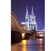 Hohenzollern Brücke and Cologne Cathedral by Night Photographic Print