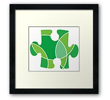 Green puzzle piece Framed Print