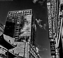 Juxtaposed Buildings II B&W by FuriousEnnui