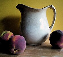 Old Pitcher with Peaches by suzannem73