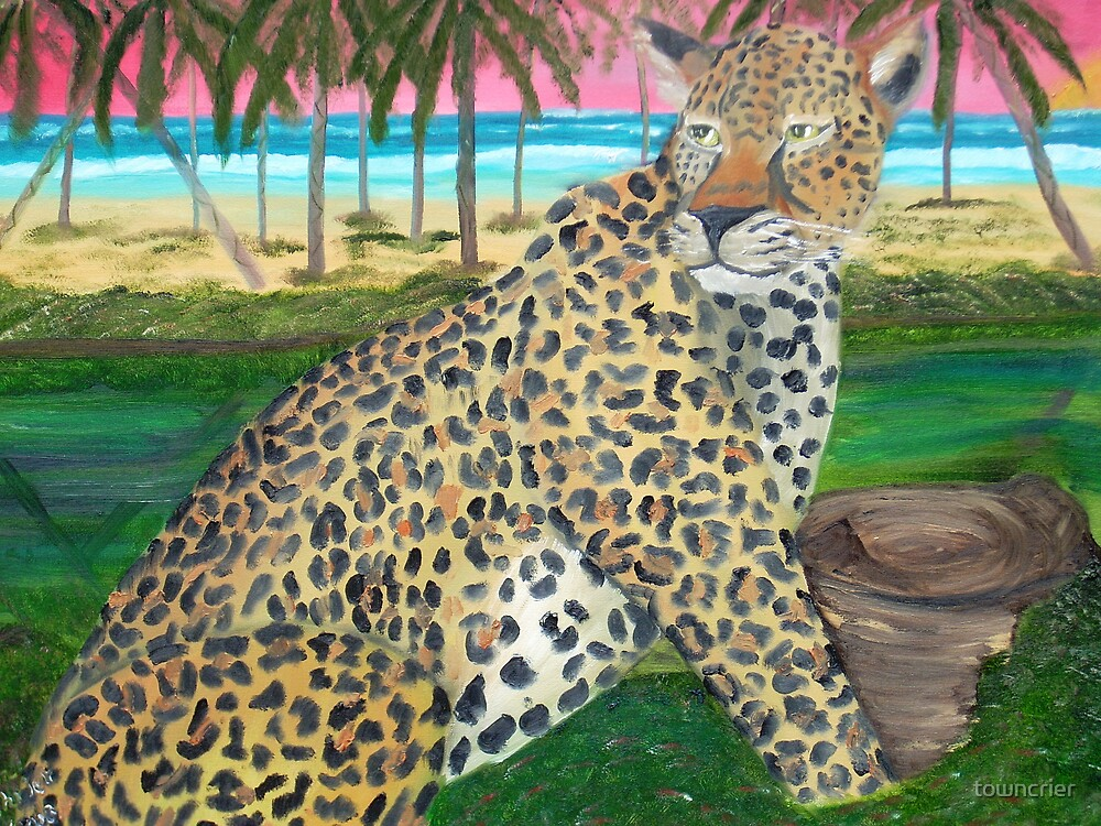 Jaguar on the Beach by towncrier