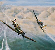 B of B Spitfire and Me109 by Woodie