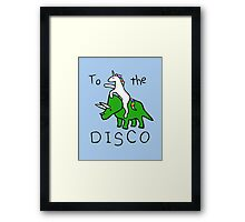 To The Disco (Unicorn Riding Triceratops) Framed Print