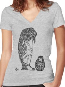 emperor penguin sketch Women's Fitted V-Neck T-Shirt