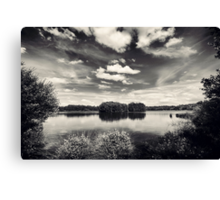 Lake at Hatfield Moor Monochrome Canvas Print