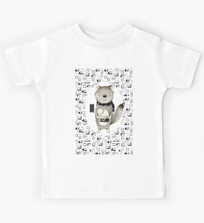 Wolf With Camera Kids Tee