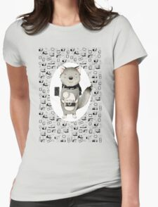 Wolf With Camera Womens Fitted T-Shirt