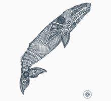 gray whale sketch One Piece - Short Sleeve