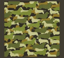 Distressed Camo Dachshund Silhouettes  T-Shirt
