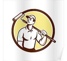 Handyman House Painter Paint Roller Circle Retro Poster