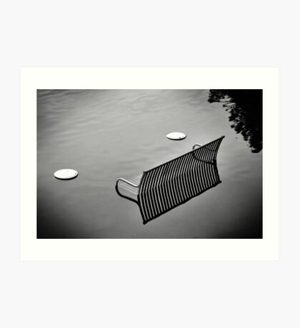 bench in the water bw Art Print