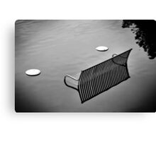 bench in the water bw Canvas Print
