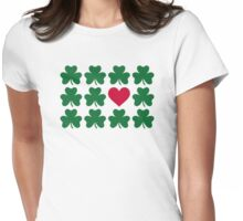 Shamrocks red heart Womens Fitted T-Shirt