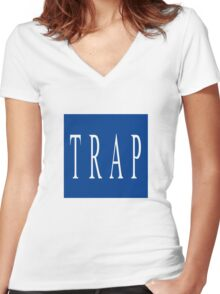 TRAP - Blue Women's Fitted V-Neck T-Shirt