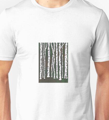 Dark Green Birch Forest Unisex T-Shirt