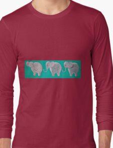 Three Elephants On Teal Long Sleeve T-Shirt