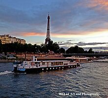 France - Eiffel Tower and Boat Dusk by jezebel521